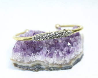 Pyrite Protection Cuff // Raw Mineral Bracelet