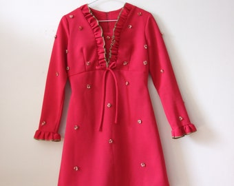 1960 Rose Appliqué Dress