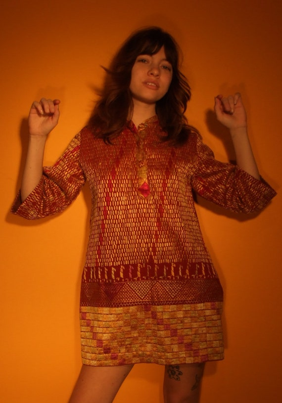 60's tapestry mini dress