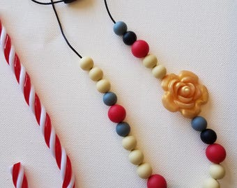 Holiday Teething Necklace Silicone Bead Chewelry