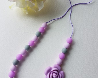 Teething Necklace silicone bead chewelry purple