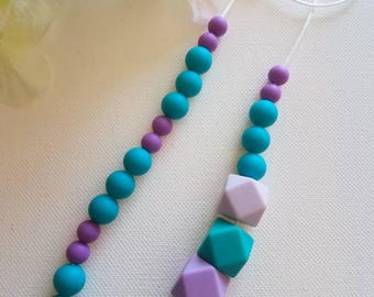 Hexagon Silicone bead Teething Necklace,  Chewelry
