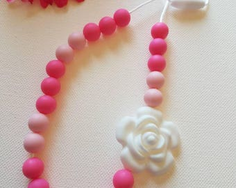 Flower Silicone bead Teething Necklace, Chewelry