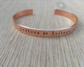 Believe to Achieve slim copper cuff motivation