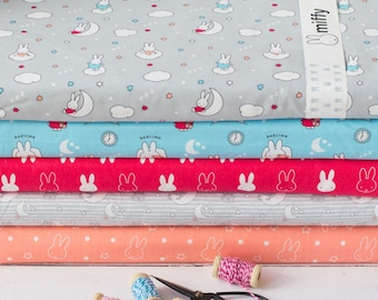 b3ffe69b4c7 Miffy Bedtime Moon and Stripes Dressmaking Quilting Crafting Cotton Fabric  Rabbit Baby Animals Nursery Decor