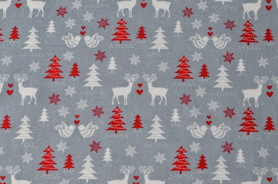 100/% Cotton quilting craft Fabric Red White Gold Scandi Christmas Winter