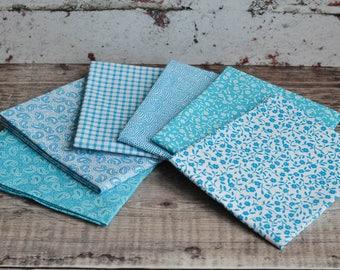 Fat Quarters, Fabric Bundle, Fat Quarter Bundle, Blue, Turquoise, Paisley, Floral, Cotton, Quilting, Patchwork, Crafting, Sewing