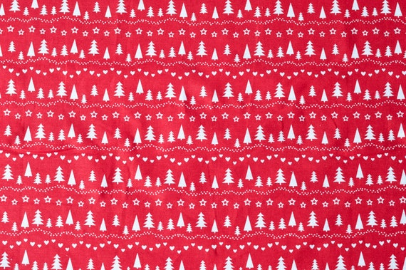 Christmas Fabric ~  Red /& Gold Foil Trees ~ Cotton Craft Material Per Metre