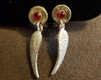 Clip on Angel earrings .40 cal  recycled gun casing crystal red bling