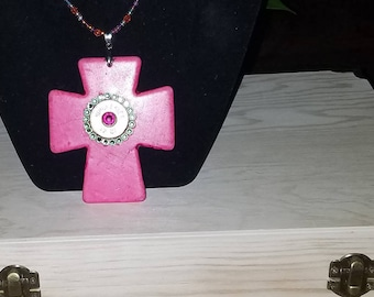 Pink turquoise chunky cross necklace beaded chain shotgun casing crystal swarovski bling beaded