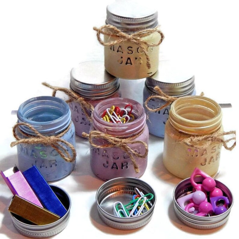 f01152436123 3 Glass Mini Mason Jars Filled Staples Push Pins Paper Clips | Etsy
