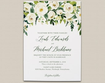 Off White and Green Floral Wedding Invitation Suite