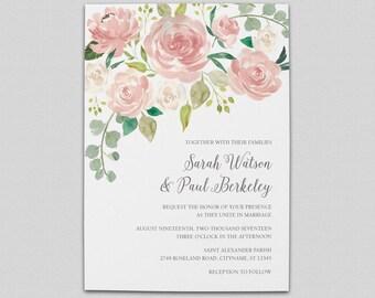 Pink Rose Wedding Invitation Suite