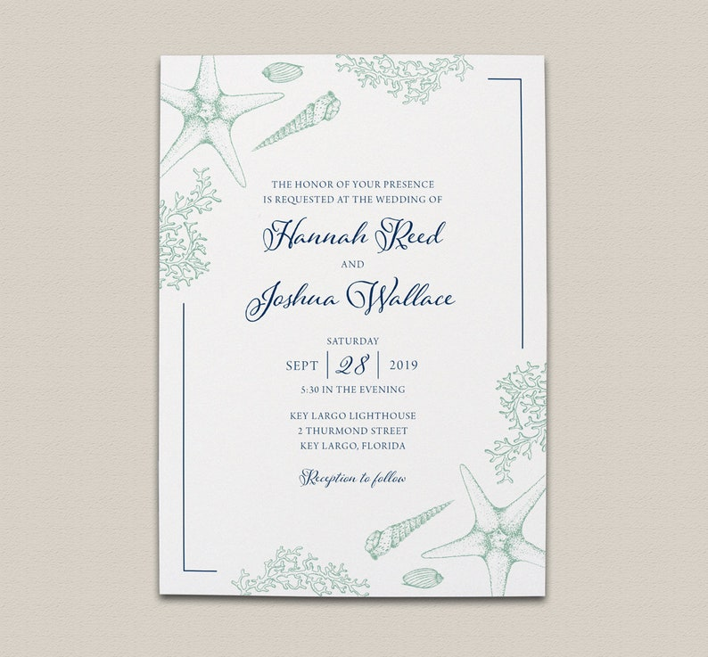 Navy Blue And Sea Glass Green Beach Wedding Invitation Suite