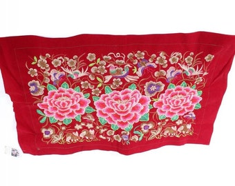 Red Rose Embroidered Hmong Textile