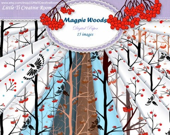 Woodland DIGITAL decoration ideas Woodland digital PAPER Background with Magpie and Winter trees, Woods Background Paper set Woodland decor.