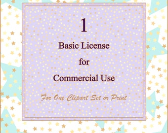 Basic License for Commercial Use License for clipart, No credit Commercial License for ONE clip art set or digital print. No credit required