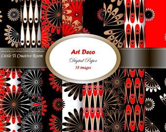 58 Art Deco patterns printable DIGITAL PAPER commercial use black red Background DIGITAL paper pack scrapbook paper 12x12 Modern art design.
