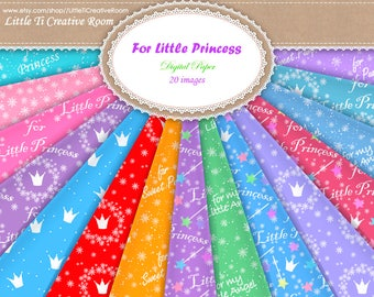 Kids CHRISTMAS WRAPPING paper princess scrapbook paper 12x12 printable gift WRAPPING little girl christmas gifts Christmas digital paper set