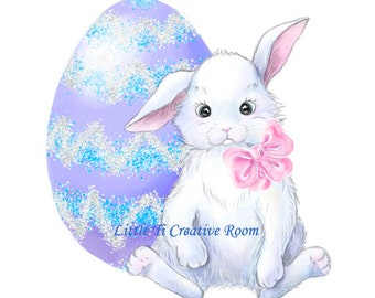 White Easter Bunny clipart Easter egg clipart watercolor animals kit scrapbook Easter clipart animals baby clipart Ostern Bunny Easter kit.