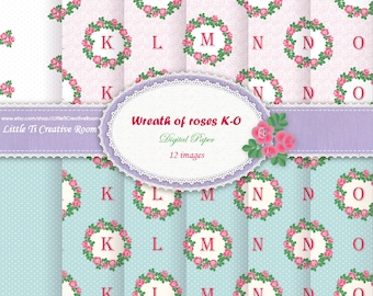 K - O initial wrapping PAPER collection, letter DIGITAL paper SET, Personalized Christmas gift Paper printable paper pack, name gift wrap.