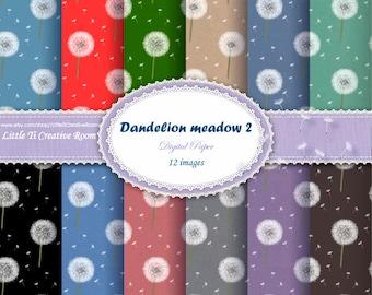 Blowball seed DIGITAL PAPER PATTERN. Wish dandelion digital gift Paper dandelion pattern printable gift paper dandelion paper wish list