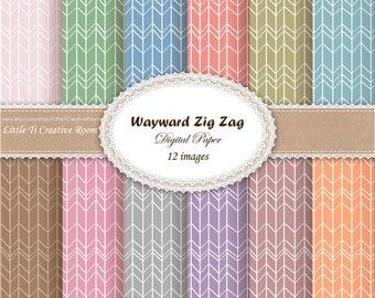 Herringbone DIGITAL PAPER pack commercial use, pattern chevron arrows scrapbook paper pack, zig zag DIGITAL pattern paper Zig Zag Background