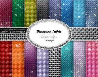 Diamond digital paper pack Printable paper set commercial use glitter scrapbook paper set rhinestone paper diamond Background digital pack