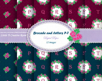 P - T Personalized Christmas GIFT PAPER PACK, Christmas wrapping paper, letter digital Paper, initial wrap paper rose wreath rose gift wrap.