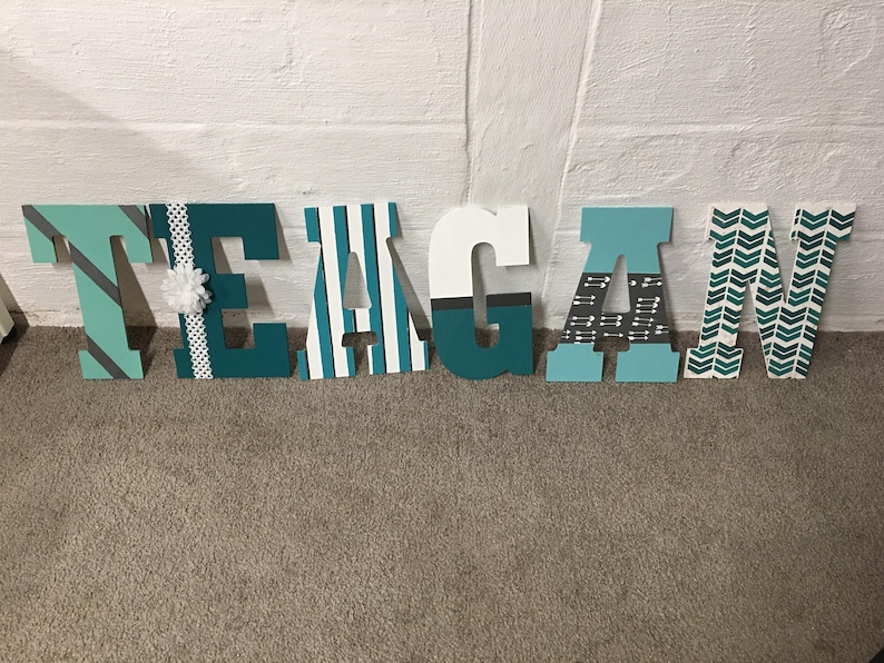 13 Hand Painted Wood Letters