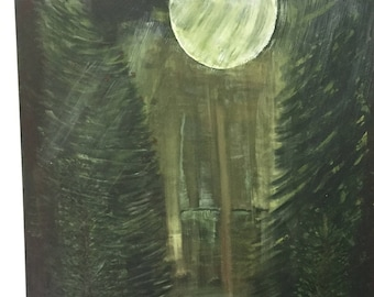 Moonlight Pine Trees Acrylic Painting