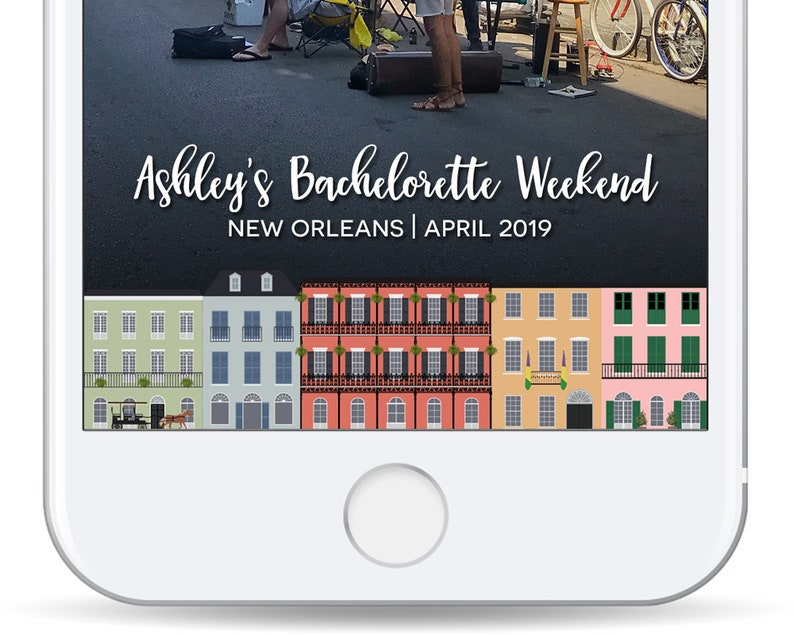 New Orleans Bachelorette Filter - Snap Chat Geofilter - Bourbon Street -  Bachelorette Party - Wedding Snapchat Filter - NOLA - Mardi Gras