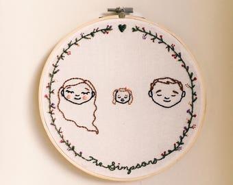 Nest - Family Custom Embroidered Portrait