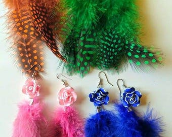 Feather earring with Polymer clay flower