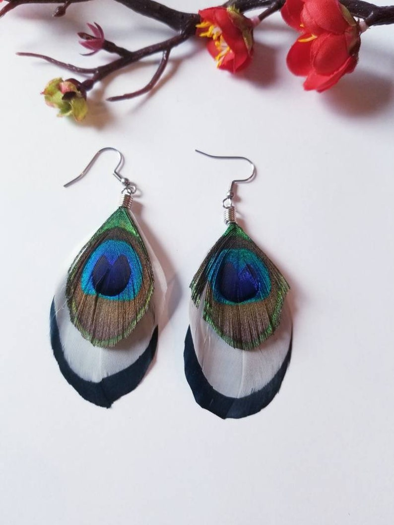 Peacock feather. Peacock feather earrings New style 2019 feather earrings