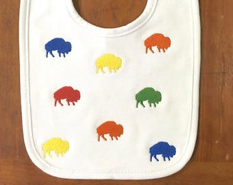 Buffalo Bib- Baby Bib- Embroidered Bib- New Baby Gift- Baby Shower Gift- Drool Bib- Girl Bib- Boy Bib- Personalized Bib