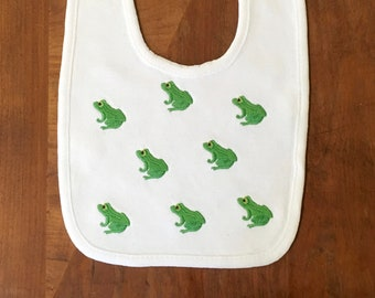 Frog Bib- Baby Bib- Embroidered Bib- New Baby Gift- Baby Shower Gift- Drool Bib- Girl Bib- Boy Bib- Personalized Bib