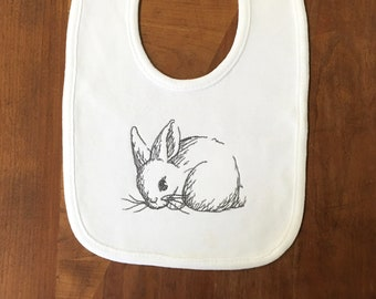 Bunny Rabbit Bib- Baby Bib- Embroidered Bib- New Baby Gift- Baby Shower Gift- Drool Bib- Girl Bib- Boy Bib- Personalized Bib