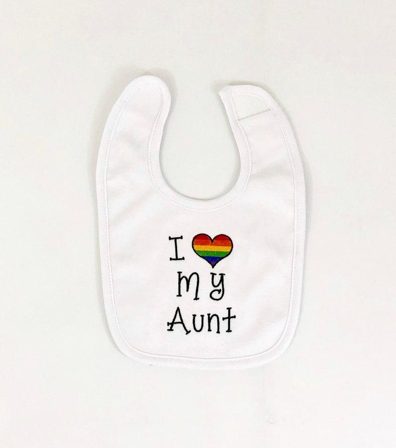 Girl Embroidered Bib New Baby Gift Baby Shower Gift Baby Bib Boy Drool Bib Rainbow Pride Heart I Love My Aunt Bib Bodysuit