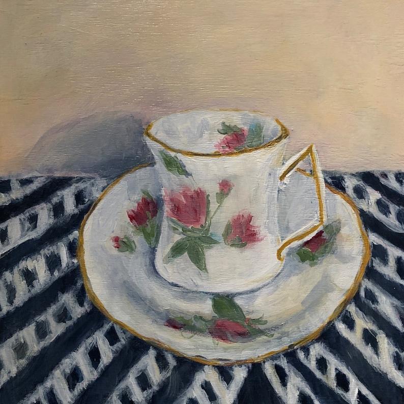 Original Hand painted Teacup Painting Art image 0