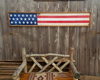 Distressed Flag/Wood Sign/Wood Flag/America/Rustic Flag/USA/4th of July/Memorial Day/Handmade/Vintage/Free Ship