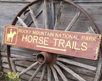 Rocky Mountain National Park Horse Trails/Rustic/Carved/Wood/Sign/Cabin/Lodge/Décor/Home/Recreational Icon/Camping/Horses