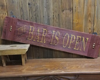 Bar sign/Western style/Tavern/Cowboy/BAR IS OPEN Rustic Wood/Man Cave/Cabin/Home decor/Barn wood/Vintage inspired