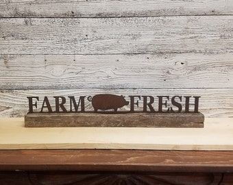 PIG Sign, Metal FARM FRESH with Pig on wood block, Home decor,Farmhouse decor, Kitchen decor, Shelf Sitter,Hogs,Farm to Table, Free Shipping