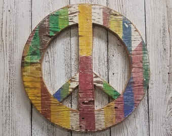 Wood Peace Sign, Boho Art, Hippie decor, Rustic Wood, Vintage Inspired decor, Multi Color