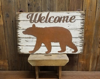 Welcome Bear, Rustic Wood Sign, Cabin decor, Lodge, Metal, Welcome Sign