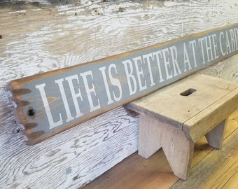 Life is Better at the Cabin Rustic Wood Sign/Lodge/Home/Cabin/Rustic decor/Farmhouse/Free Shipping Vintage Truck/Camper