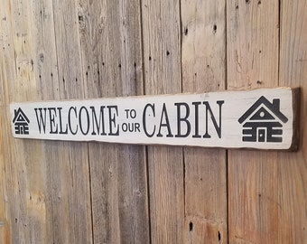 WELCOME to our CABIN/Rustic/Carved/Wood/Sign/Lodge/Home/Cabin/lake/river/décor/Fishing/Hunting/Cottage