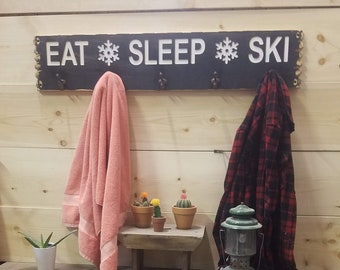 EAT SLEEP SKI Towel holder, coat rack, rustic carved wood sign, Cabin décor, Lodge, Hot tub sign, Mountain décor, distressed wood signs