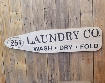 Laundry Co./Wash Dry Fold/Rustic/Carved/Wood/Sign/Laundry Room/Laundry Mat/Farm House Style/Décor/ Ironing Board
